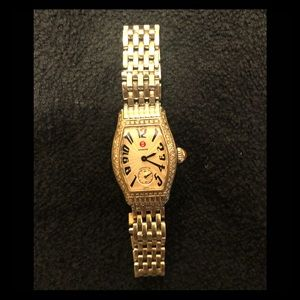 MICHELE urban mini watch w/diamond bezel